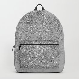 Elegant chic faux silver glitter gray marble Backpack