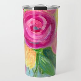 Bouquet of Flowers, Pink and Yellow Flowers, Painting Flowers in Vase Travel Mug