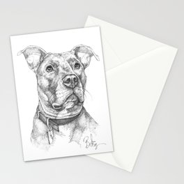 """""""Hank"""" the Rescue Blue Nose Pitbull Staffordshire Terrier Stationery Cards"""