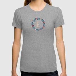Watercolor Monogram Wreath Letter E T-shirt
