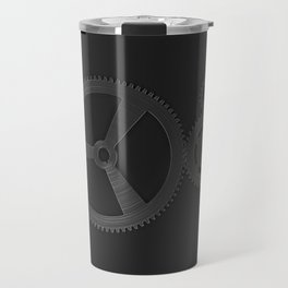 Set of metal gears and cogs on black Travel Mug