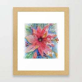 "Pretty watercolor poinsettia ""Let every season be the season of joy"" quote Framed Art Print"