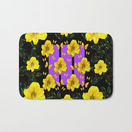 BLACK ART  YELLOW AMARYLLIS FLOWERS BUTTERFLY FLORAL Bath Mat