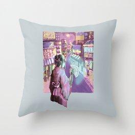 Geisha Cyberpunk Throw Pillow