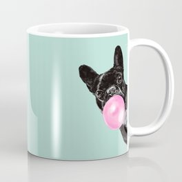 Bubble Gum Sneaky French Bulldog in Green Coffee Mug