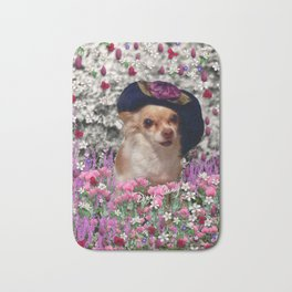 Chi Chi in Purple, Red, Pink, White Flowers, Chihuahua Puppy Dog Bath Mat