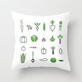 Vegetables set Throw Pillow