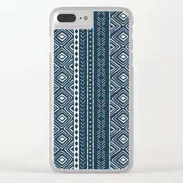 Navy Mudcloth Clear iPhone Case