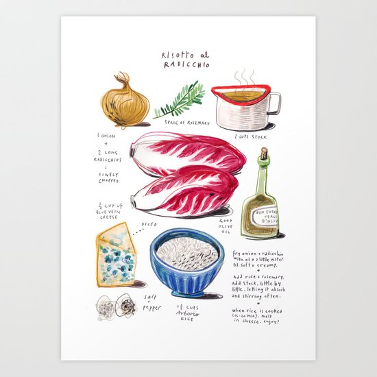 illustrated recipes: risotto al radicchio Art Print