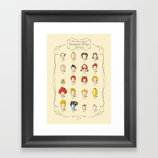 The Marvelous Cartoon Wigs Museum Framed Art Print