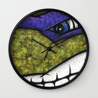 teenage mutant ninja turtles Wall Clocks featuring Donatello (Teenage Mutant Ninja Turtles) by chris panila