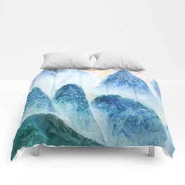 dawn in the mountain forest Comforters