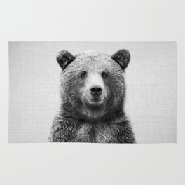 Grizzly Bear - Black & White Rug