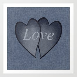 Hearts with background - denim photocollage Art Print
