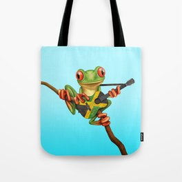 Tree Frog Playing Acoustic Guitar with Flag of Jamaica Tote Bag