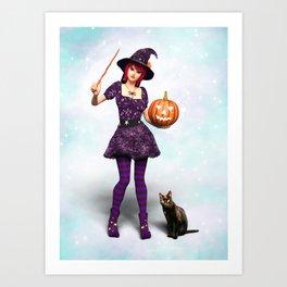 Cute Halloween Witch Art Print