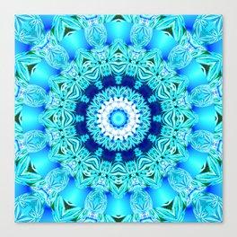 Blue Ice Glass Mandala, Abstract Aqua Lace Canvas Print