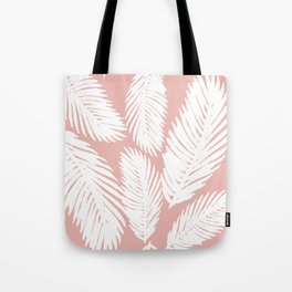 White Tropical Palm Tree Fern Leaf on Rose Gold Pattern Tote Bag