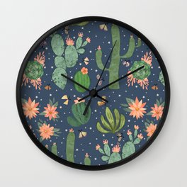Succulents in Blue Wall Clock