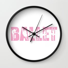 Ballet in Light Pink with Ballerina Cutouts Wall Clock