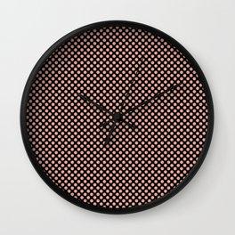 Black and Coral Pink Dots Wall Clock