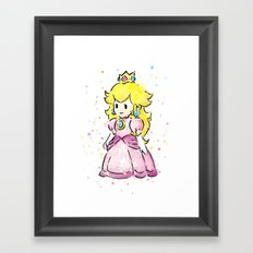 Princess Peach Mario Watercolor Game Art Framed Art Print