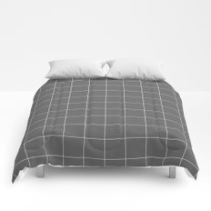 Grey and White Grid Comforters
