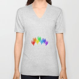 Rainbow Hearts Unisex V-Neck