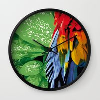 brasil Wall Clocks featuring Brasil Tropical by watermelon