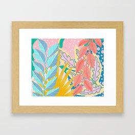 Modern Jungle Plants - Bright Pastels Framed Art Print