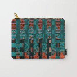 Abstract Geometric Glitch Green Neon Hyperspace Carry-All Pouch