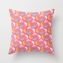 Modern Memphis Stylized Floral, Vintage Style Vector Repeat Pattern Throw Pillow
