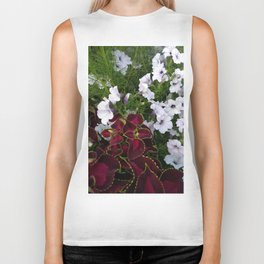 Burgundy & White Flowers 001 Biker Tank