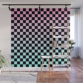 Pink and Blue Gradient Checkers Wall Mural