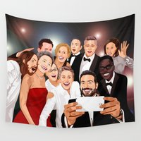 cartoons Wall Tapestries featuring Cute Celebrity Selfie Photo Cartoons iPhone 4 4s 5 5s 5c, ipod, ipad, pillow case and tshirt by Three Second