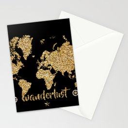 world map gold black wanderlust Stationery Cards