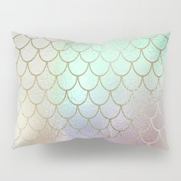 Mermaid Scales Pastel Shimmering Iridescent Gold and Rainbow Hues Pillow Sham