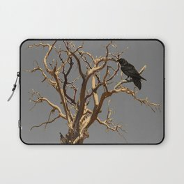 RAVEN ON DEAD TREE GREY ART Laptop Sleeve