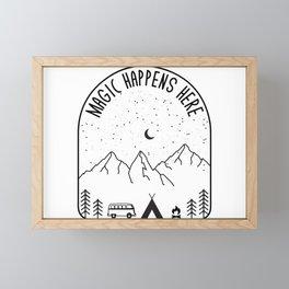 Magic Happens Here Minimal Camping Rv Camper Retro Mountain Framed Mini Art Print