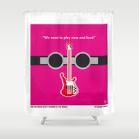 scott pilgrim Shower Curtains featuring No236 My Scott Pelgrim minimal movie poster by Chungkong