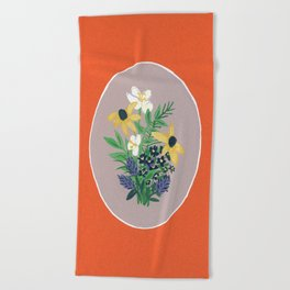 Orange Floral Vignette  Beach Towel