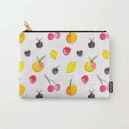 Fruit Salad - Watercolor & Ink Pattern Carry-All Pouch