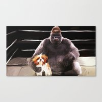 wrestling Canvas Prints featuring Wrestling Gorillas by Rich Okun