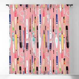 Watercolor Stationery Pastel Coral Background Blackout Curtain