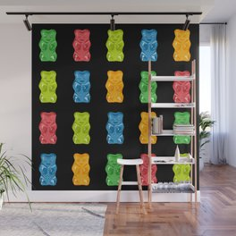 Rainbow Gummy Bears Pattern on Black Background Wall Mural