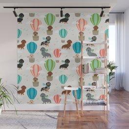 Dachshund hot air balloon dog cute design fabric doxie pillow decor phone case Wall Mural