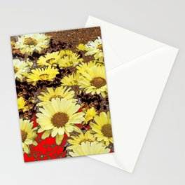 MODERN ART YELLOW DAISIES GARDEN ABSTRACT Stationery Cards