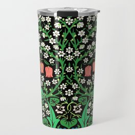 William Morris Jacobean Floral, Black Background Travel Mug