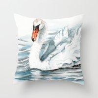 swan Throw Pillows featuring Swan by rchaem