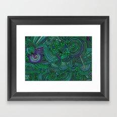 Drawing Meditation - Green Framed Art Print
